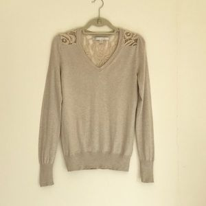 V-neck sweater with lace panel in beige